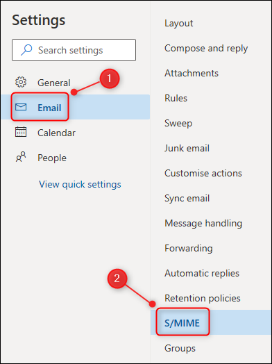 Menu Paramètres d'Outlook, avec l'option