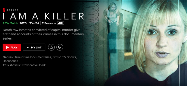 """I Am a Killer"" sur Netflix."