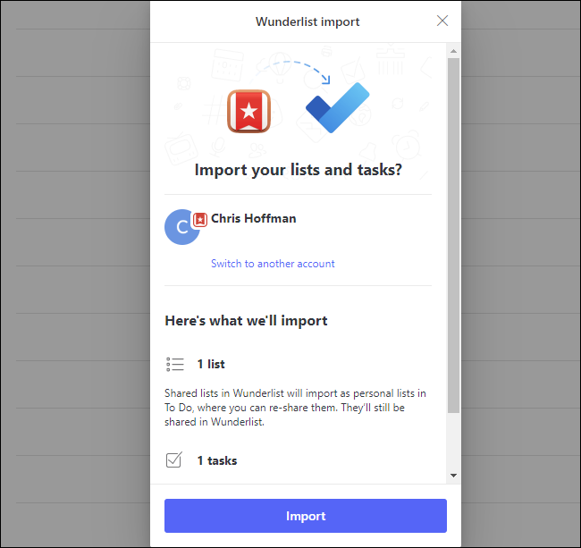 L'invite de confirmation d'importation Wunderlist dans Microsoft To Do