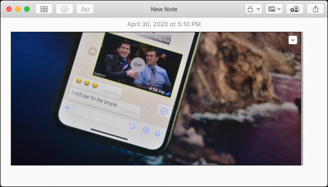 Image de l'iPhone collée dans Apple Notes sur Mac