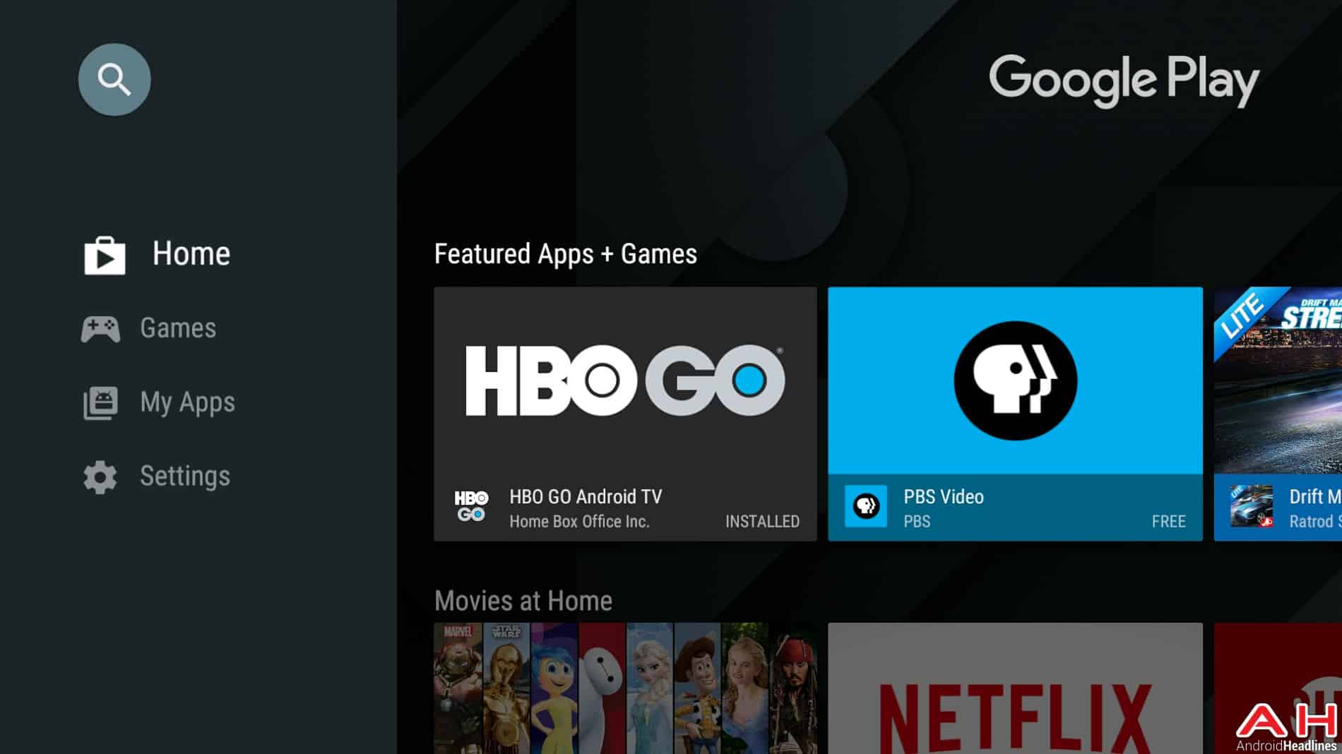 Mise à jour Android TV Play Store AH 1