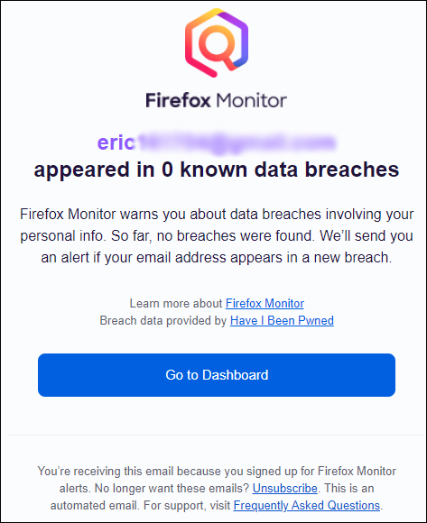 Un e-mail de confirmation de Firefox Monitor