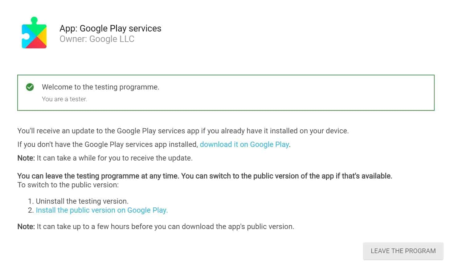 Les services Google Play quittent la version bêta