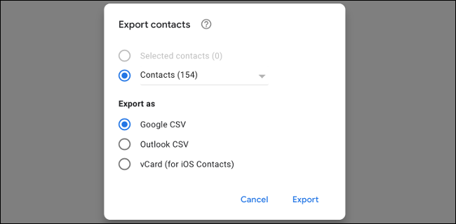 Exporter les contacts Gmail au format CSV