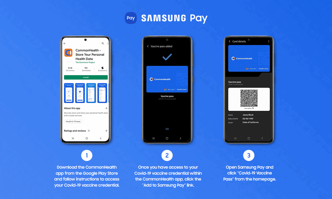 Application CommonHealth sur Samsung Pay 2 1