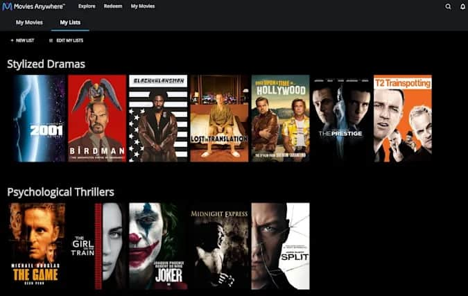 Application Movies Anywhere mes listes